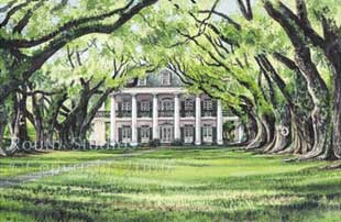 Oak Alley Plantation Watercolor