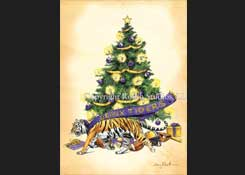 Mike the LSU Tiger and Christmas Tree Watercolor Christmas Card