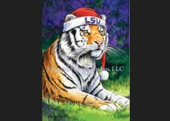 LSU Mike the Tiger Posing in a Santa hat Christmas Card