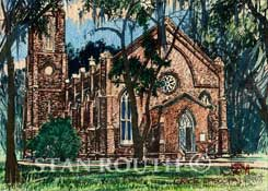 St Francisville Episcopal Church Watercolor